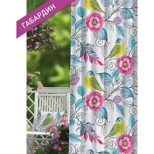 Шторы ПРОВАНС Габардин Tomtit, розовый, голубой, желтый, 270 см