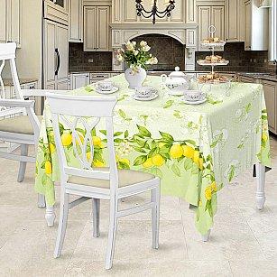 Скатерть рогожка 145*180 'Романтика' Лимонный сад  (100% х/б)