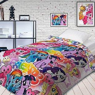 Покрывало стеганое 'Непоседа' НЕОН 145х200 'My Little Pony' Граффити 16027+16028