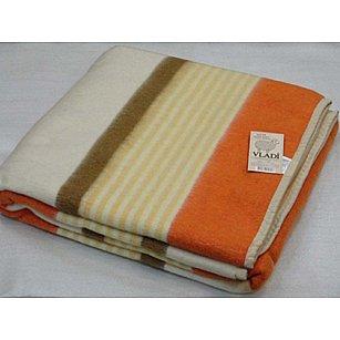 """Одеяло шерстяное """"Полоса"""", белый, желтый, оранж, терракот, 170*210 см"""