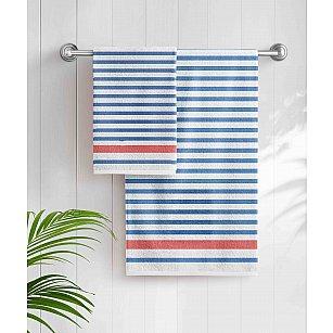 Полотенце махровое Aquarelle Sea-полоски, классический синий, белый, 50*90 см