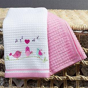 Комплект кухонных полотенец Arya Bahar Птички (40*60 см), белый, розовый