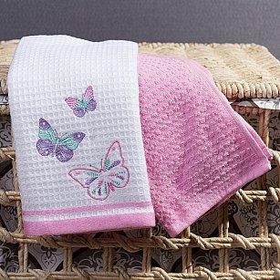 Комплект кухонных полотенец Arya Bahar Бабочки (40*60 см), белый, розовый