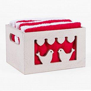 Комплект из 6-ти полотенец Arya Birdy (30*30 см), бело-красный