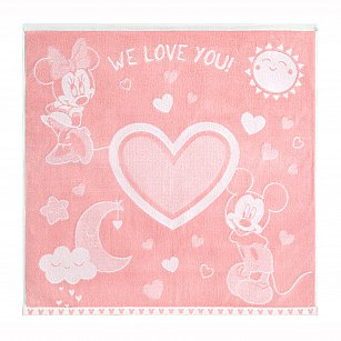 "Полотенце Облачко ""Mickey&Minnie we love"", нежный пион, белый, 100*100 см"