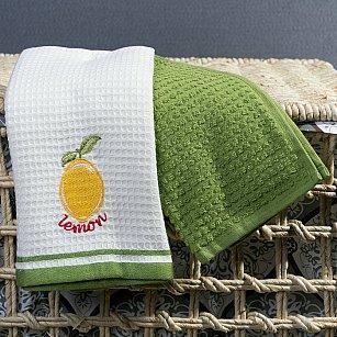 Комплект кухонных полотенец Arya Olive Лимон (40*60 см), белый, зеленый