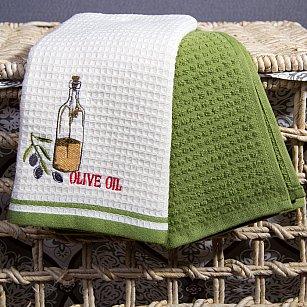 Комплект кухонных полотенец Arya Olive Олива (40*60 см), белый, зеленый