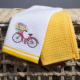 Комплект кухонных полотенец Arya Provense Велосипед (40*60 см), белый, желтый