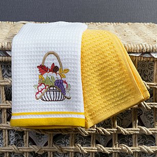 Комплект кухонных полотенец Arya Provense Корзинка (40*60 см), белый, желтый
