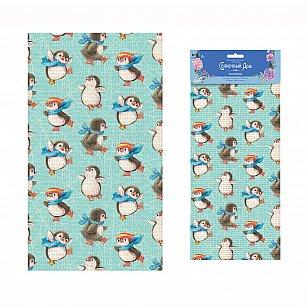 """Полотенце """"Солнечный Дом"""" Пингвины, голубой, 35*60 см"""