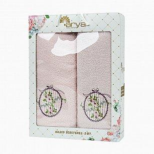 Комплект из 2-х полотенец с вышивкой Arya Sema (50*90 см, 70*140 см), светло-розовый
