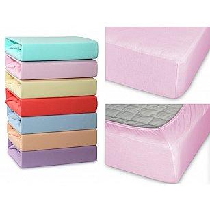 Простынь трикотажная на резинке светло-розовая