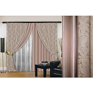 Комплект штор №019, какао, светлый какао, 200*260 см