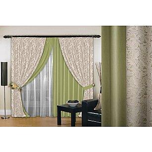 Комплект штор №019, фисташка, крем, 200*260 см