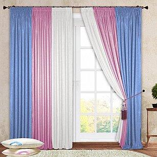 Комплект штор №029 Белый, Розовый, Голубой