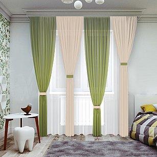 Комплект штор №065-1, зеленый, ваниль