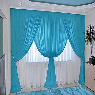 Комплект штор №092 Небесно-голубой