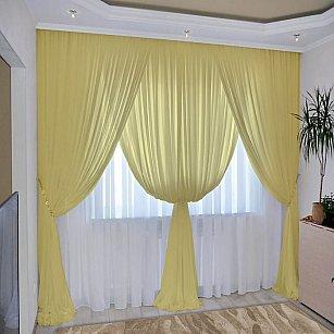 Комплект штор №092 Пастельно-желтый