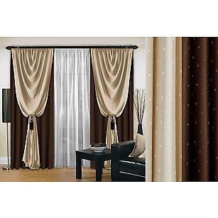 Комплект штор №128, коричневый, 250 см