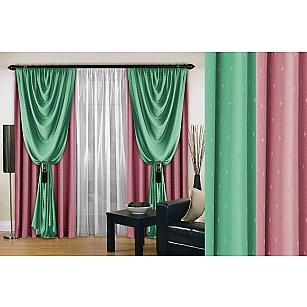 Комплект штор №128, розовый, мятный, 270 см