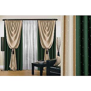 Комплект штор №128, зеленый, 250 см
