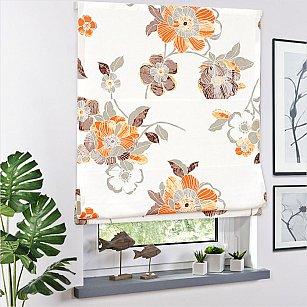 Римская штора Bremen A рисунок цветы,  оранжевый