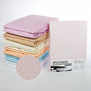 Простынь на резинке махровая, розовая