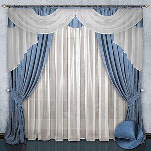 Комплект штор №033 Бледно-голубой