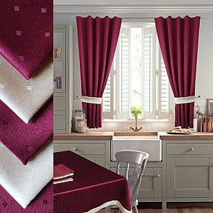 Комплект штор для кухни №050 со скатертью и салфетками, бордо