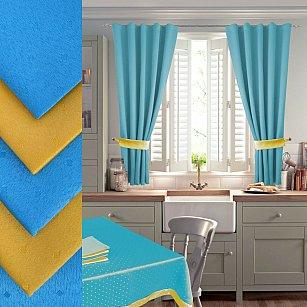 Комплект штор для кухни №050 со скатертью и салфетками, голубой