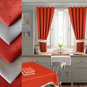 Комплект штор для кухни №050 со скатертью и салфетками, оранжевый