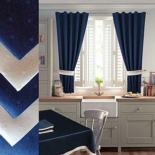 Комплект штор для кухни №050 со скатертью и салфетками, синий