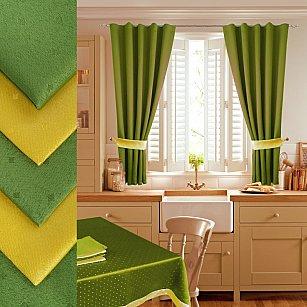 Комплект штор для кухни №050 со скатертью и салфетками, светло-зеленый