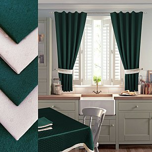 Комплект штор для кухни №050 со скатертью и салфетками, темно-зеленый