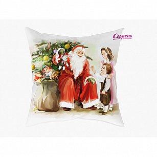 """Декоративная подушка """"Дед мороз и дети-A"""""""