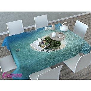 """Скатерть 3D """"Остров влюбленных"""", голубая"""