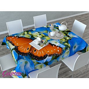 """Скатерть 3D """"Бабочка в цветах"""", голубая"""