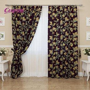 """Комплект штор """"Благородные цветы"""", коричневый, желтый, 260 см"""