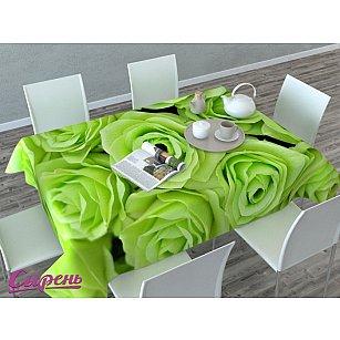 """Скатерть 3D """"Зеленые розы""""-A, салатовая"""