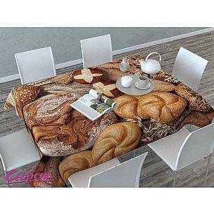 """Скатерть 3D """"Ароматный хлеб"""", коричневая-A"""