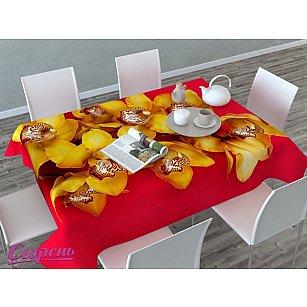 """Скатерть 3D """"Желтая орхидея"""", красно-желтая"""