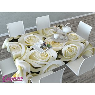 """Скатерть 3D """"Душистые розы"""", кремовая"""