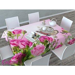 """Скатерть 3D """"Стайка бабочек на розах"""", розовая"""