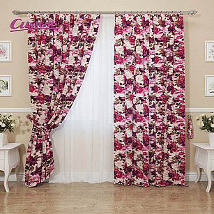 """Комплект штор """"Цветочный бархат"""", розовый, 260 см"""