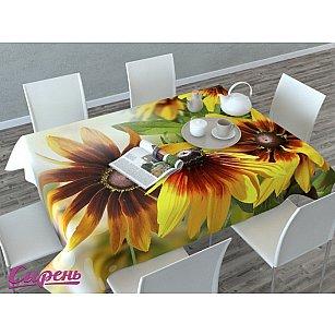 """Скатерть 3D """"Декоративные цветы"""", желтая"""
