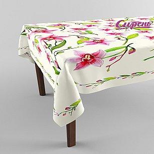 """Скатерть 3D """"Танец орхидей"""", розовая"""