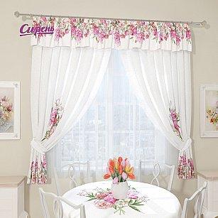 """Комплект штор """"Летний букет"""", белый, розовый"""
