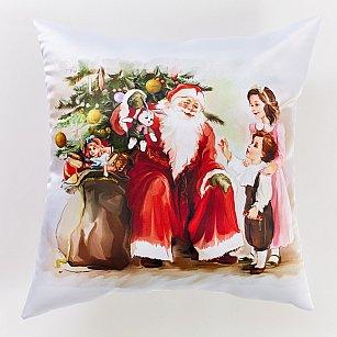 """Декоративная подушка сатен """"Дед мороз и дети-A"""""""