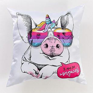 """Декоративная подушка сатен """"Магическая свинка"""""""