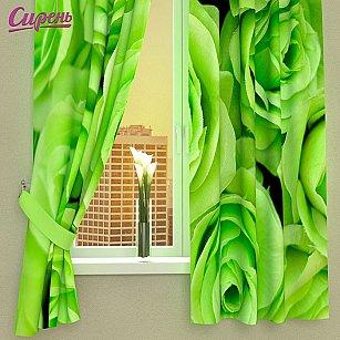 """Фотошторы для кухни """"Зеленые розы"""""""